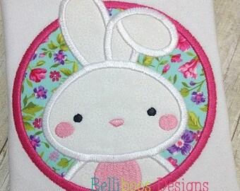 Bunny Applique Design - Bunny Embroidery Design - Rabbit Applique Design - Easter Applique Design - Girl Applique Design - Spring Applique