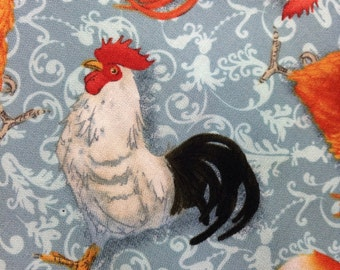 One Half Yard Piece of Fabric Material - Prairie Roosters