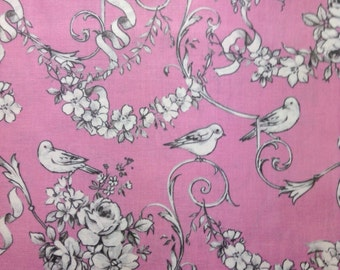 One Half Yard of Fabric - Pretty Birds on Pink