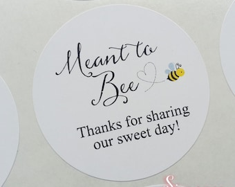 Meant to Bee Honey Favor Mason Jar Labels Wedding Favor Stickers