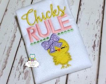Chicks Rule Easter Shirt or Bodysuit, Chicks Rule Shirt, Girl Easter Shirt, Girl Easter Pictures Shirt, Girl Egg Hunt Shirt, Easter Shirt