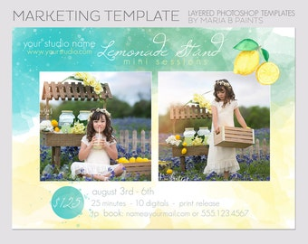 INSTANT DOWNLOAD, Lemonade Stand Session Photography Template, Marketing Template, Summer Minis, Lemonade Stand, Mini Photography Session