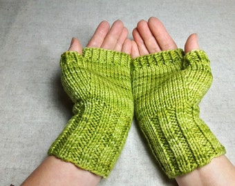 Fingerless Gloves for Women, light green, Arm Warmers, Mittens Wool