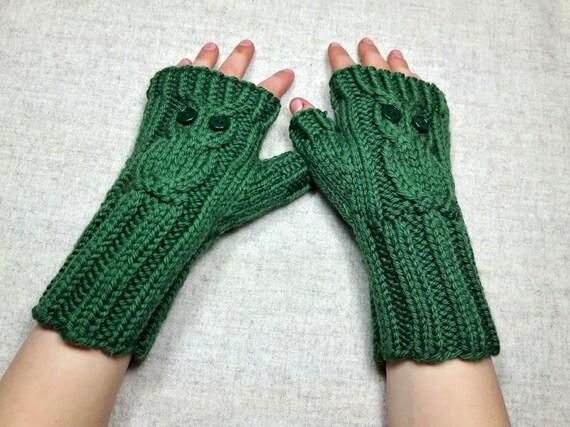 fingerlose kinder handschuhe eule gr n. Black Bedroom Furniture Sets. Home Design Ideas