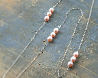 Long Pearl and Chain Necklace