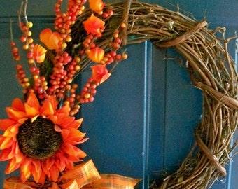 Sunflower Burst Fall Wreath