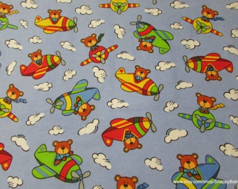 Flannel Fabric - Bears in Planes - 1 yard - 100% Cotton Flannel