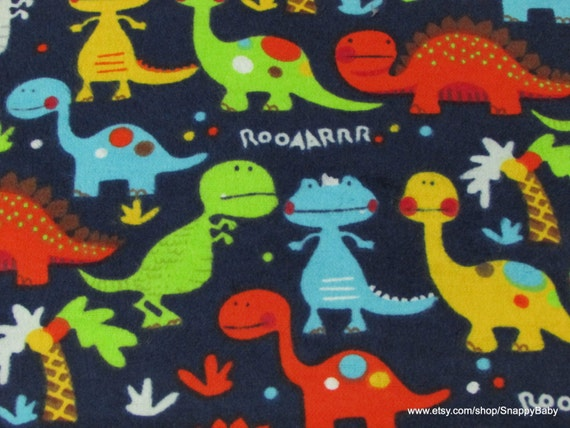 Flannel fabric baby dinosaurs navy 1 yard 100 cotton for Baby dinosaur fabric