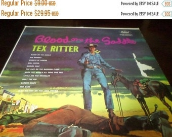 Save 30% Today Vintage 1962 Vinyl LP Record Tex Ritter Blood on the Saddle Excellent Condition