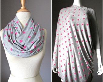 Nursing  scarf, breastfeeding wrap, breastfeeding blanket, scarf nursing cover, nursing infinity scarf, Steel Grey and pink heart scarf