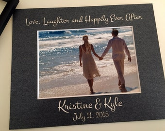"""11x14 Custom Wedding """"Love, Laughter, and Happily Ever After"""" Photo Mat - with names & date"""