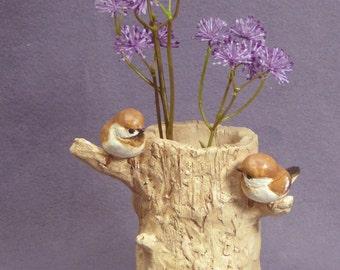 Handmade Ceramic Plant Holder with Birds - Ceramic Planter, Sculptural Plant Holder, Ceramic Bird, Ceramic Art, Ceramic Decor