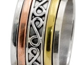 Three Tone Band Ring Solid 925 Silver Brass Copper Spinner Jewelry IR35102