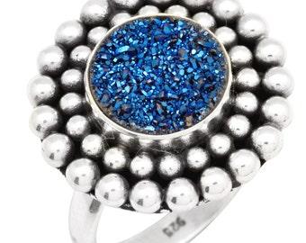 Blue Titanium Druzy Quartz Ring Solid 925 Silver Jewelry Size 6.75 IR34964