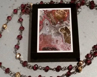 Intarsia, Garnet and Pyrite Oxidized Sterling Silver Necklace