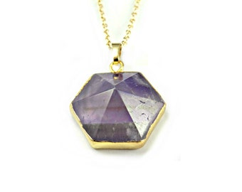 SALE - Geometric Necklace, Gift For Sister, Multifaceted Stone Necklace, Gold Purple Necklace, Hexagon Jewelry, Purple Quartz Stone Pendant