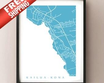 Kailua-Kona Map Print - Hawaii poster