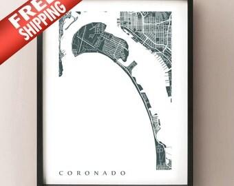Coronado Map Art - California Poster Print - Choose color and size