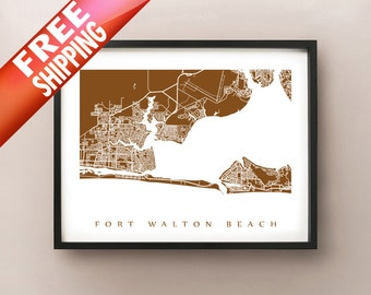 Fort Walton Beach Map Print - Florida Poster