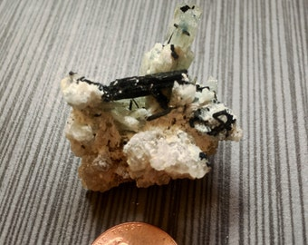 "Namibian Aquamarine and Schorl Specimen 1.25"" aq1011 - Ships free in US!"