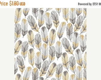 "20% OFF SALE FABRIC Remnant - Feathers in Golden Canyon - Coyote - Hawthorne Threads - 5""x42"""
