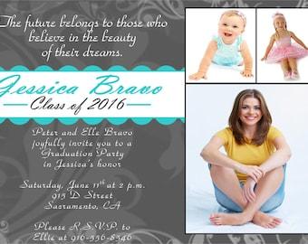 Graduation Party - High School Graduation - Growing Up - Printable Invites - Digital Invites - JPEG - PDF, I104