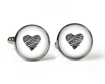 Black HEART - Glass Picture Cufflinks - Silver Plated (Valentine P22)