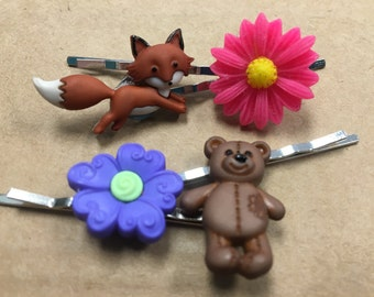 Fox bear and flower bobby pin set of four