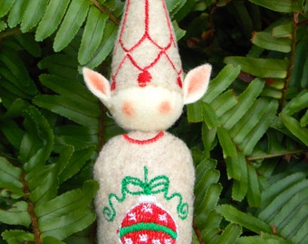 Elf Ornament ~ Decoration ~ Christmas ~ Holiday Stuffed Oatmeal Felt & Christmas Ball Tummy Decoration Machine Embroidered