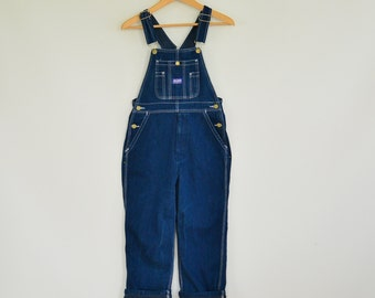Denim Big Overalls Big Smith Teen Boy Size 16 XS Adult Gold zip Fly Dark Wash Dungarees Like New Jean Overalls