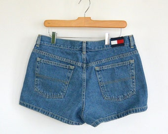 Tommy Hilfiger Hipster Short Denim Short Shorts Hip Huggers 90's Two Sizes Women's size 11-Women's Size 7 Tommy Jeans