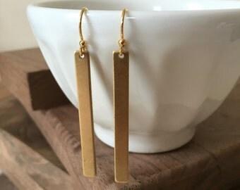 Minimalist / Simple Brass Earrings  / Gold Bar Earrings / Brass Bar Earrings / Minimalist Earrings / Gifts under 30