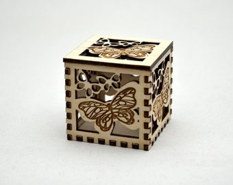 Butterfly Plywood Cube - laser cut wood