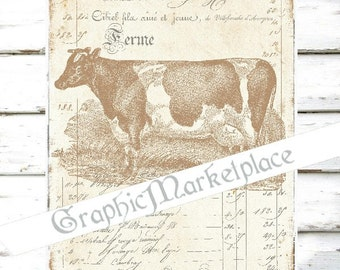 French Cow Farm Vache Ferme Shabby Chic Kitchen Cuisine Large Image Instant Download Transfer Fabric digital collage sheet printable No. 924