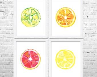 Citrus Kitchen Art Fruits Print Fruit Decor Kitchen Decor Kitchen Poster