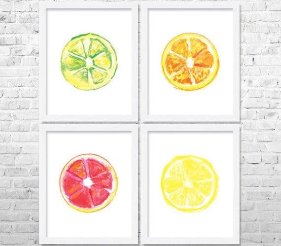 Https Www Etsy Com Listing 275152240 Citrus Kitchen Art Fruits Print Fruit