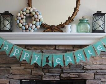 Burlap Easter banner/Happy Easter garland/Easter sign/Easter bunting/Easter burlap banner/Easter banner/Easter decor