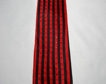 Red and black striped rhinestone necktie