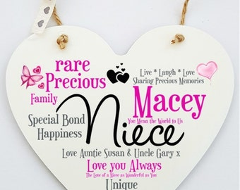 Personalised Niece Hanging Heart Sign Plaque.