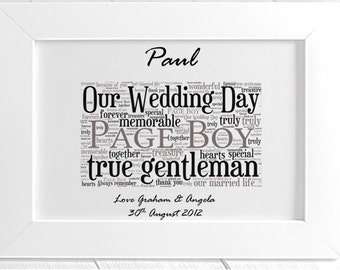 Personalised Page Boy Wedding Thank You Framed Word Art