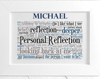 Personalised Inspirational Motivational Word Art - Personal Reflection