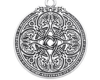 1  Pagan Wicca Viking Enochian Hermetic Dragon Shield Military Pendant 34x35mm Talisman Carved Silver Plated Antique