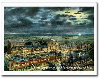 Luna Park at Night, Coney Island, NY REPRO Vintage Postcard