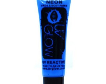 Blue UV Glow Neon Body Paint - Glowing Body Paint - 0.34 / 10ml tubes