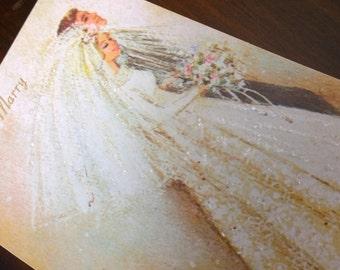 Striking Original Vintage Retro restored 1960s 1970s congratulations Wedding Card Bride and Groom