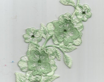 Light Green Embroidered rhinestones embellished iron on patch Applique  6055