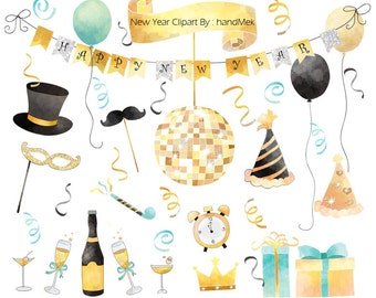 Happy new year water color, New year Clipart Instant Download,PNG file - 300 dpi