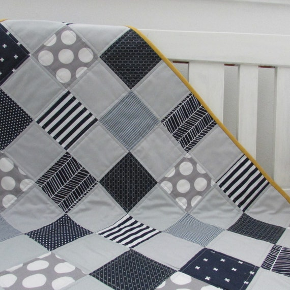 Modern Handmade Grey And Navy Blue Baby Boy Quilt