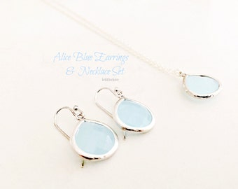 Alice Blue Necklace Alice Blue Earrings Jewelry Set 925 Sterling Silver Dangle Earrings Alice Blue Pendant Beach Wedding Bridesmaid Gifts