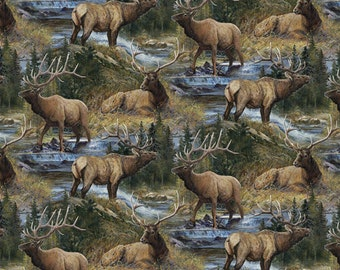 Wild Wings Lazy Afternoon Scenic Elk  Fabric From Springs Creative By the Yard